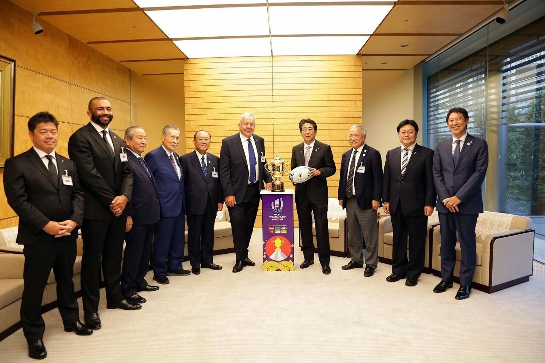 Prim-ministrul Japoniei, Shinzo Abe, la o ceremonie premergătoare deschiderii Rugby World Cup 2019